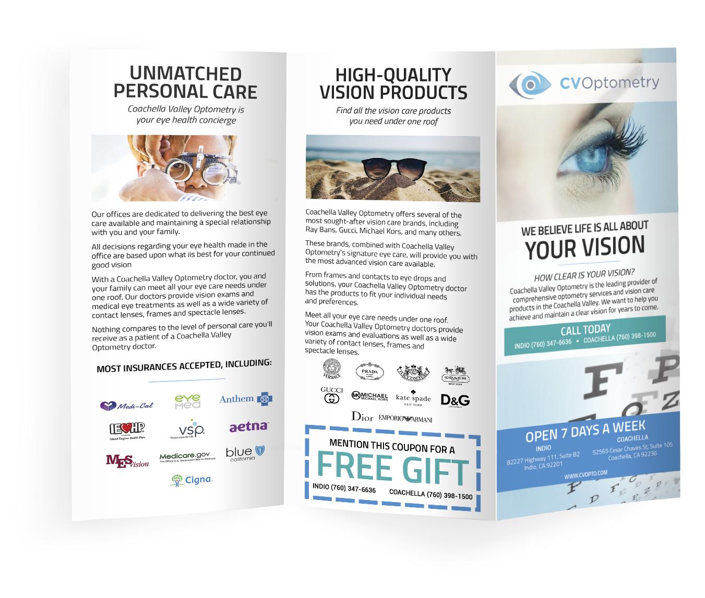 graphic design, brochure, for optometrists, dentists, doctors